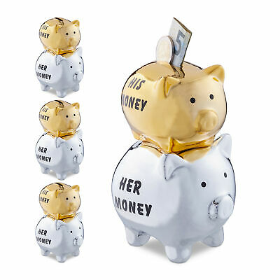 4 x Sparschwein His & Her Money Sparbox Gelddose Spardose Money Box Silber-Gold