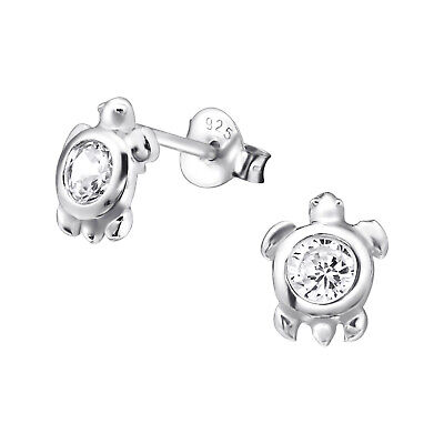 925 Sterling Silver Turtle with Crystal Cubic Zirconia Stud Earrings