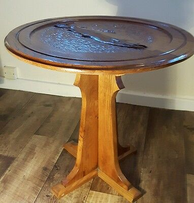 UNIQUE OAK PEDESTAL TABLE with CARVED SALMON Arts & Crafts style