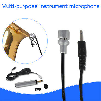 Portable Wired Lapel Lavalier Clip-on Microphone for Guitar Sax Trumpet Violin