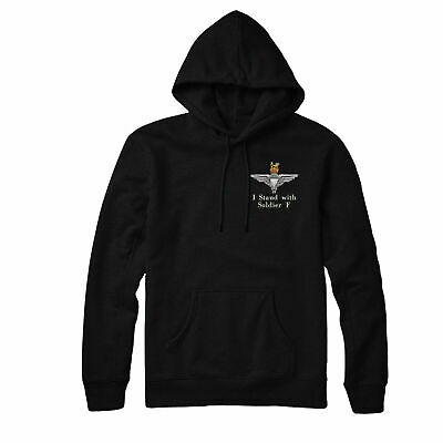 I Stand With Soldier F Embroidered Hoodie, Parachute Paratrooper Hoodie Top