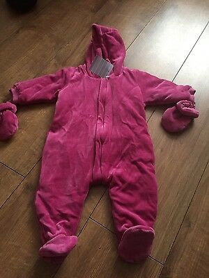 GIRLS JOJO MAMAN BEBE Velour all in one Coat. NEW, Age 6-12 Months