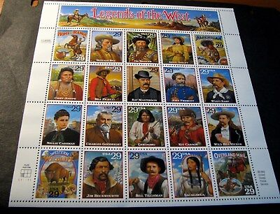 US Stamp Scott# 2869 Legends of the West   MNH  Pane of 20 1994  BKL12