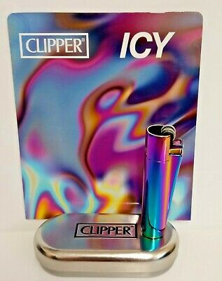 Clipper Metal Lighter With Metal Gift Case, Tin, Refillable - Icy