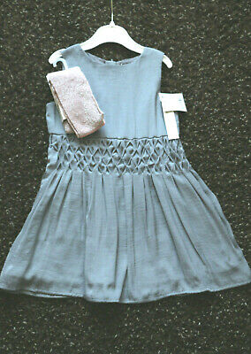 Next Signature Girls Silver Grey Dress & Pink Sparkle Tights Age 2-3 Years BNWT
