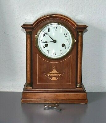 H A C Wurttemberg antique inlaid mantle clock. Germany. Running. Key included