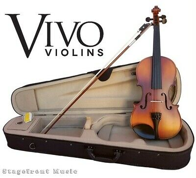 Vivo Neo Full Size 4/4 Student Violin Package Solid Top Outfit With Pro Setup