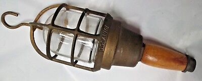 Vintage Marine Brass Ship Nautical Hand Lamp With Wooden Handle Piece 1. RARE