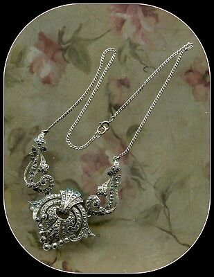 Antique Victorian/Art Deco Sterling Silver Marcasite Articulated Necklace-Superb