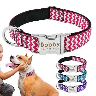 Metal Buckle nylon dog collar or lead custom personalised laser engraved ID tag