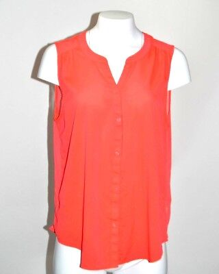 AMERICAN EAGLE  Pink orange Sleeveless Button Down Tank Top Sheer Back SZ XL