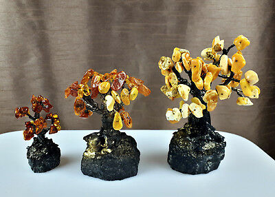 #5 LOT of 3pcs  A Tree of life Genuine Baltic Amber