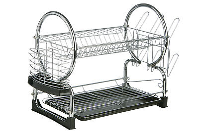 2 Tier Dish Drainer with Black Plastic Tray