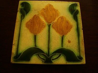Pilkington Art Nouveau Majolica Stylish Tulip Tile  19/53