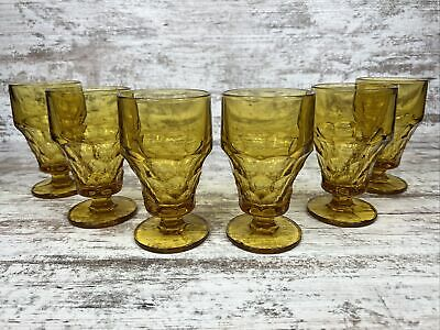 Six Lovely Anchor Hocking Georgian Topaz Amber Glass Footed Iced Tea Goblets
