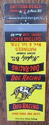 Daytona Dog Track >> Daytona Beach Dog Racing Florida Vintage Matchbook Travel