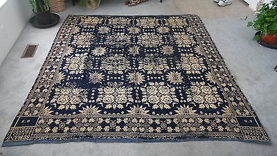 1838 Antique Blue COVERLET Reversible SIGNED & DATED with Ephemera Note RARE!