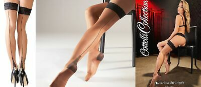 'Cottelli Collection' 15 Denier Flesh Stay Ups Seamed Stockings with Lace Ban...