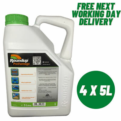 4 x5L ROUNDUP PRO VANTAGE 480g/l STRONGEST WEED KILLER AVAILABLE ON THE MARKET