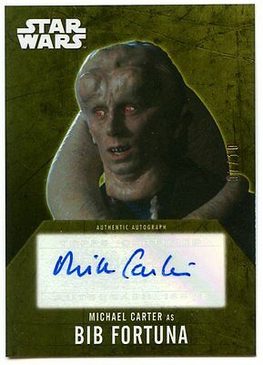 2016 Topps Star Wars Evolutions GOLD AUTO #07/10 - Michael Carter as Bib Fortuna