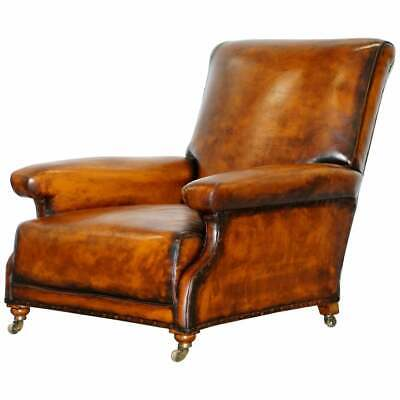 Fully Stamped Original Victorian Walnut & Brown Leather Howard & Son's Armchair