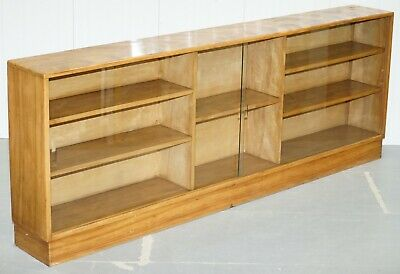 Large Sideboard Sized Light Mahogany Bookcase 233Cm Wide 87.5Cm Tall Glass Doors