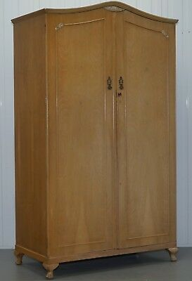 Large Satin Walnut Cabinet Works Double Wardrobe With Minty Internal Cupboards