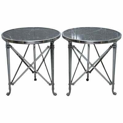 Rrp £15000 Pair Of Ralph Lauren Cannes Gueridon Occasional Tables Burkina Marble