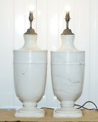 Pair Of Huge 72Cm Tall Solid Italian White Marble Urn Lamps Circa 1920'S Rare
