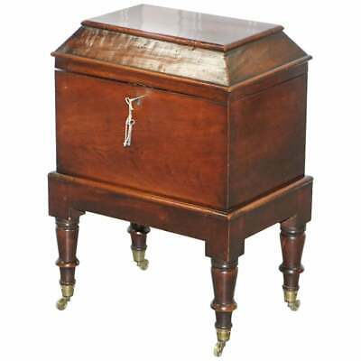 Very Rare Regency Mahogany Cellarette Of Sarcophagus Form Raised On Turned Legs