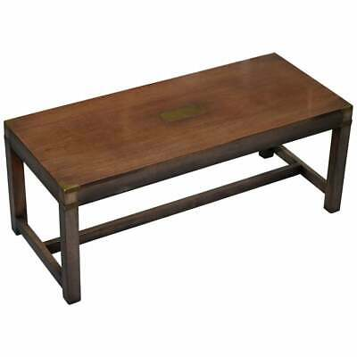 Vintage Rrp £2250 Harrods London Mahogany & Brass Military Campaign Coffee Table