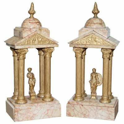 Large Pair Of 1800'S Roman Antique Grand Tour Marble Sculptures Statues Very Old