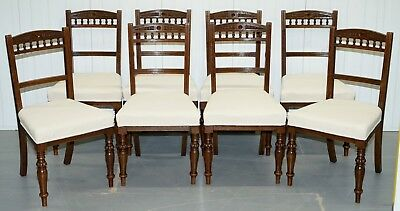 Set 8 Original Victorian Mahogany Maple & Co Dining Chairs Calico Upholstery