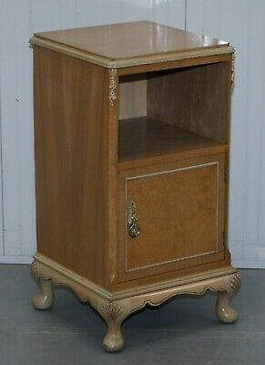 Original Maple & Co Art Deco Circa 1930'S Burr Walnut Bed Side Table Cabinet