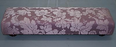 Rrp £1000 George Smith Fender Footstool Ottoman Silk & Silk Velvet Floral Fabric
