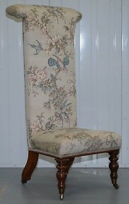 Victorian Mahogany Prayer Chair Part Of Suite Satin Floral & Birds Upholstery