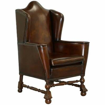 Rare Restored Aged Brown Leather Dutch 18Th Century Circa 1760 Wingabck Armchair