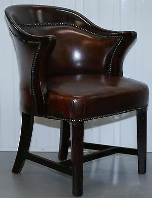 Mahogany Frame Regency Hand Dyed Brown Leather Club Tub Armchair Barrel Back