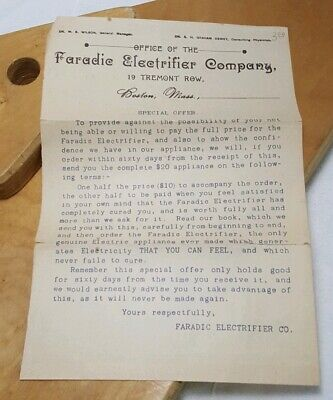 Faradic Electrifier Company Promo Offer Medical Quackery Ephemera Stim Device