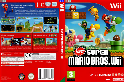 New Super Mario Bros Wii.Nintendo Wii Replacement Box Art Sleeve/ Reproduction
