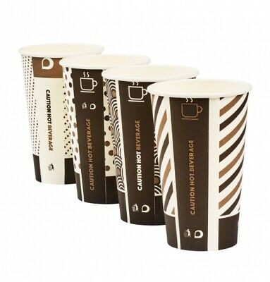 100 x 16oz Mixed Design Bamboo Cups + Lids Biodegradable Compostable Hot Drink