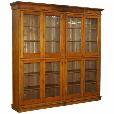Victorian Mahogany & Oak Library Bookcase Cabinet Adjustable Shelves Glass Doors