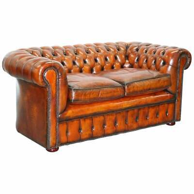 1930'S Made In England Restored Hand Dyed Chesterfield Club Sofa Feather Filled