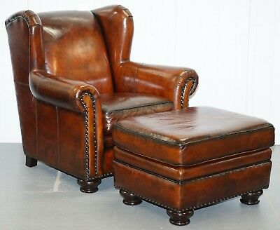 Stunning Restored Rrp £5500 Bernhardt Thick Brown Leather Armchair & Footstool