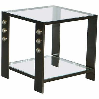 Rrp £5500 Griffith Side Table By Kelly Wearstler Bronze & Moon Pyrite Stones