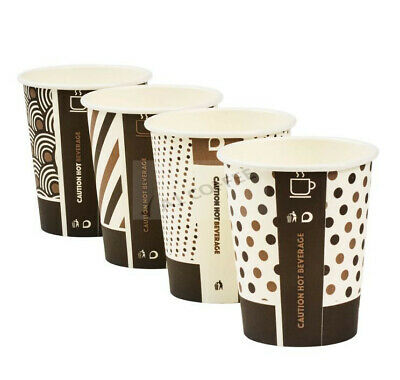 1000 x 8oz Mixed Design Bamboo Cups White Lids Biodegradable Compostable Hot Cup