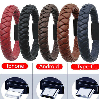 USB Charging Cable Leather Bracelet  Data Charger Sync Cord For iphone Samsung