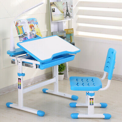 3bd9f66f3ac Adjustable Children s Study Desk Table Chair Set Child Kids with Touch LED  Lamp