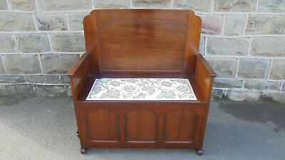 Antique Mahogany Hall Seat Settle Bench