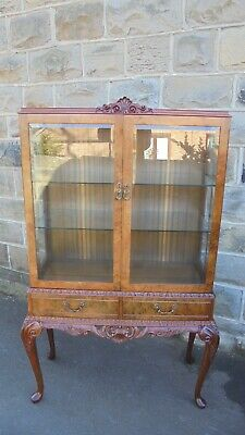Antique Burr Walnut Glazed Display Cabinet